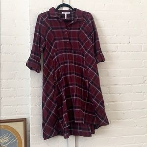 Fit and flare flannel bcbg dress with pockets